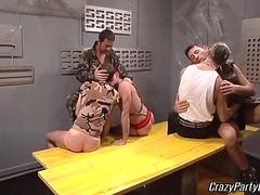 Horny soldiers having group fun clip