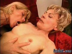Two skinny old blondes made love