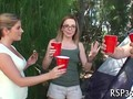 Teen sluts party and fuck while camping
