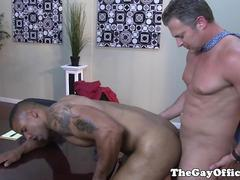 Interracial office sex with Robert Axel