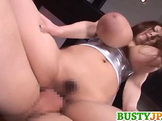 Hitomi with huge jugs rides dick