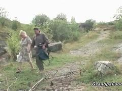 Mature couple having fun in nature