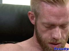 Gay hunk with a cock ring masturbating