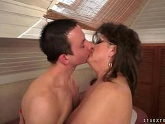 Boy fucks hot grandma in the bathroom
