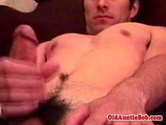 Amateur jock masturbating before old bears bj