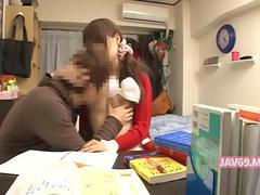 Japanese tutor gets her tits and pussy licked