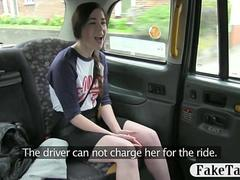Cute British teen cant pay her taxi driver