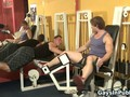 Muscled amateur gym dudes