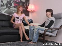 Make Him Cuckold - Girl cheating on her boyfriend in front of him
