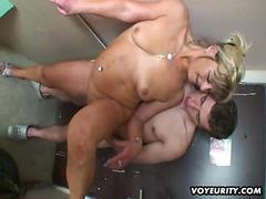Amateur housewife fucked by 2 guys in a corridor
