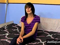 Feminine emo twink gives an arousing little interview