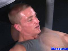 Gay gym hunks fuck closeup after workout