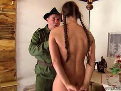Guy in uniform humiliating and fucking a girl