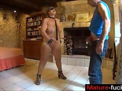 Hot mature with plump tits dominated with deepthroat oral sex