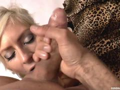 Multiple angles for this messy facial on hot blonde