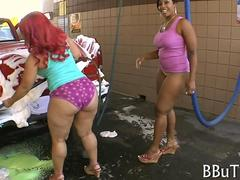 phat ass black women washing at the car wash
