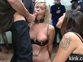Blonde slave girl humiliated in public and fucked by everyone