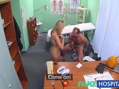 FakeHospital Doctors halloween costume wardrobe malfunction gets blonde horny and wet