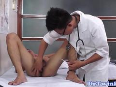 Asian doctor rims and fingers patients ass