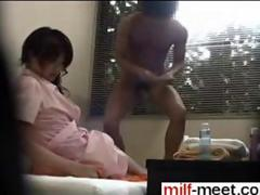 Japanese MILF filmed on hidden cam riding dick during a massage
