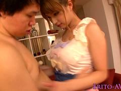 Gorgeous busty asian showing her creampie