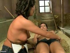 Granny and young brunette making hot love