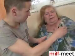 Big tits blonde gets her fat pussy rammed with young dick