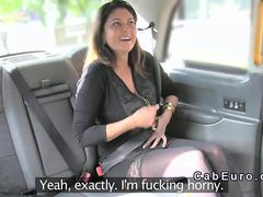 Busty Belgium tourist in London cab