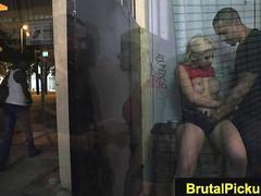 Hot blonde slut gets fucked in an alley by a tattooed gangster