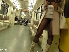 Pantyhose subway flash by Jeny Smith