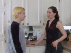 Blonde dude fucks hard his girlfriend on the kitchen