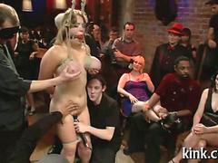 busty bitch has a bdsm gang bang and its raw