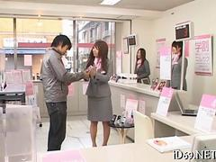 Frozen in time Asian office ladies face fucked in broad daylight
