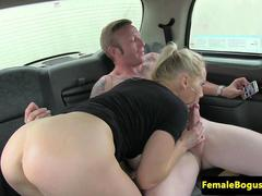 Female taxi driver facialized by passenger