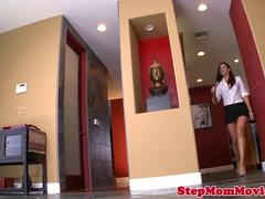 Stepmom beauty seduces teens bf into trio