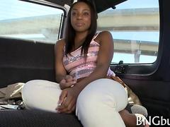 Black busty teen babe sucks white dick in bang bus