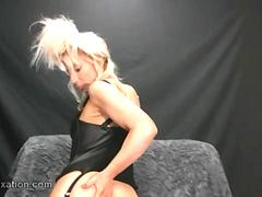 Hot blonde Milf shows her amazing juicy wet lady lips after taking off leather pants