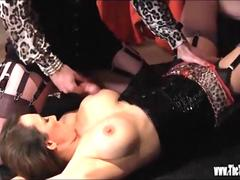 Hot tranny has nylon foot wank and tight ass fucked while she cums on big boobs