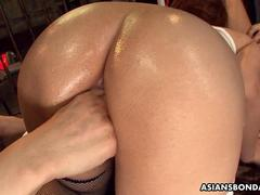 Giving her ass up in a nasty bdsm session