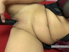 Busty MILF Lavender Rayne is playing with a big black dong