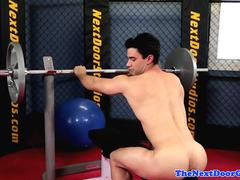 Ripped stud wanking and working out in gym