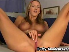 Busty amateur Ryana playing her pussy with dildo