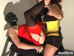 Sissy slut with big cock indulges in his passion for panties anal and spunking