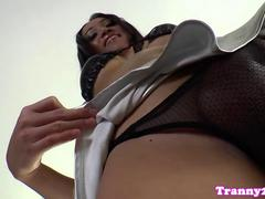 Solo shemale Pinky toying ass while jerking