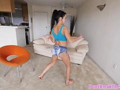 Stunning petite flexible teen pounded roughly