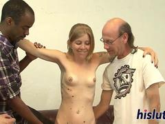 Interracial gangbang session with slutty Tabitha