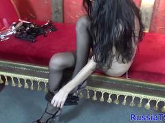 Amateur russian trans toying her ass solo