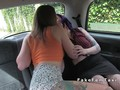 Purple haired client licks female fake taxi driver