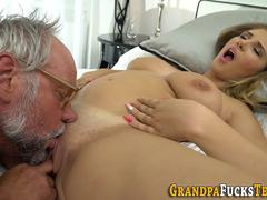 Slut rides old mans dick
