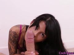 Tattooed glamour babe cocksucking and edging